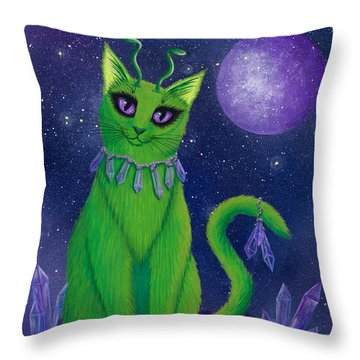 Throw Pillow featuring the painting Alien Cat by Carrie Hawks