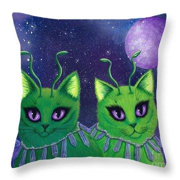 Alien Cats Throw Pillow