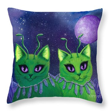 Throw Pillow featuring the painting Alien Cats by Carrie Hawks