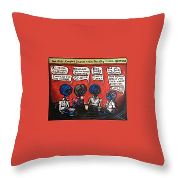 Alien Couples Discuss The Earths Creatures Over Drinks Throw Pillow