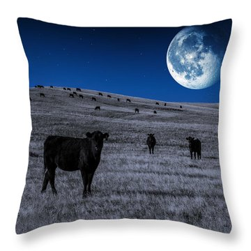 Alien Cows Throw Pillow