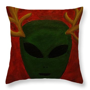 Throw Pillow featuring the painting Alien Deer by Lola Connelly