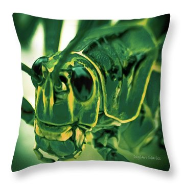 Alien Throw Pillow by DigiArt Diaries by Vicky B Fuller