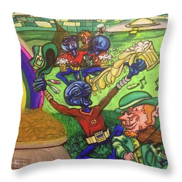 Throw Pillow featuring the painting Alien Go Bragh by Similar Alien