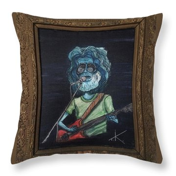Throw Pillow featuring the painting Alien Jerry Garcia by Similar Alien