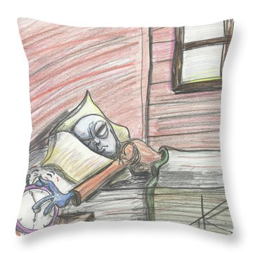 Alien Keeps Snoozin Throw Pillow