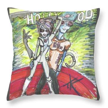 Alien Kitten Face Throw Pillow