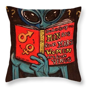 Alien Looking For Answers About Love Throw Pillow