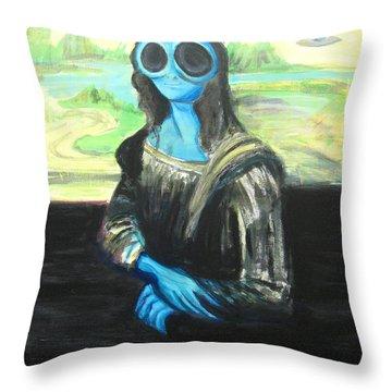 alien Mona Lisa Throw Pillow