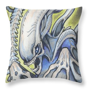 Alien Movie Creature Throw Pillow by Amy S Turner