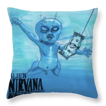 Alien Nevermind Throw Pillow