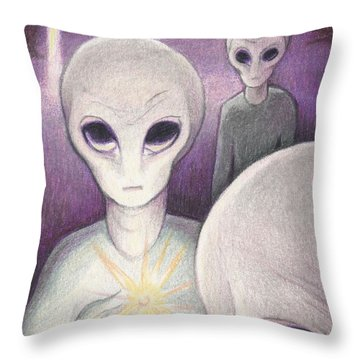 Alien Offering Throw Pillow by Amy S Turner