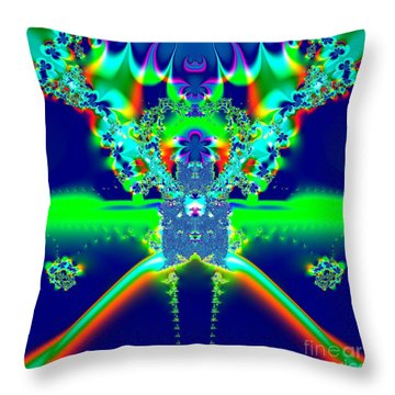 Throw Pillow featuring the digital art Alien Poodle Fractal 96 by Rose Santuci-Sofranko