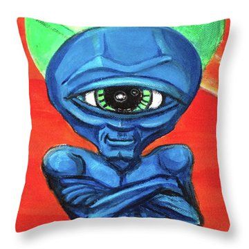 Throw Pillow featuring the painting Alien Posse by Similar Alien