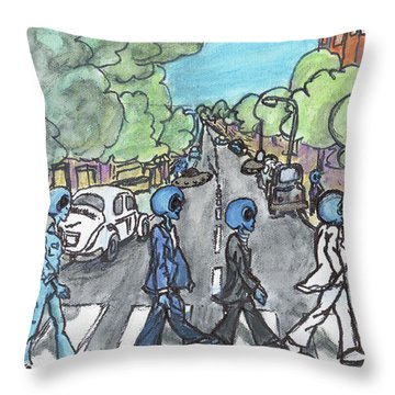 Alien Road Throw Pillow