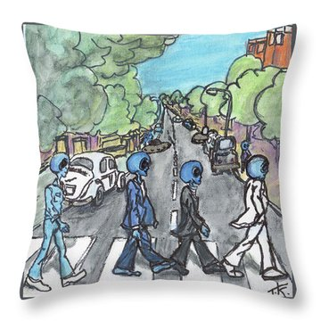 Throw Pillow featuring the painting Alien Road by Similar Alien