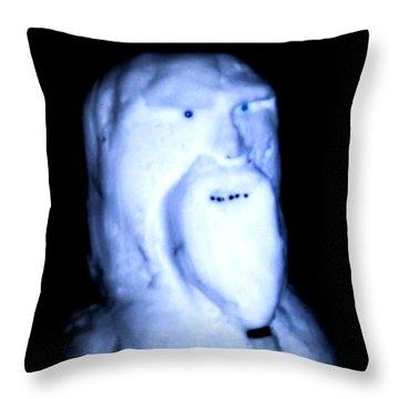 Throw Pillow featuring the digital art Alien Snowman by Digital Art Cafe