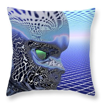 Alien Stare Throw Pillow by Nicholas Burningham