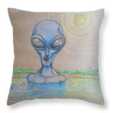 Throw Pillow featuring the drawing Alien Submerged by Similar Alien