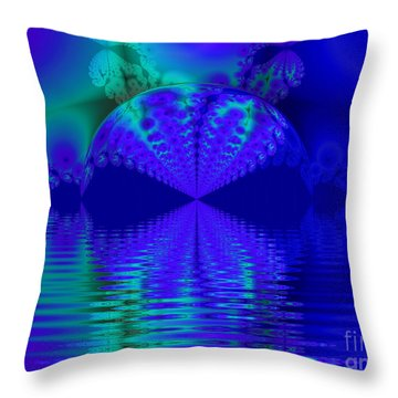 Alien Sunset Over Fantasy Lake Throw Pillow