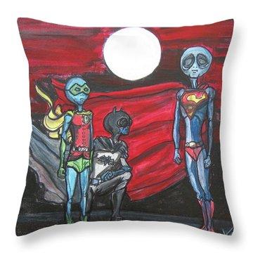 Alien Superheros Throw Pillow