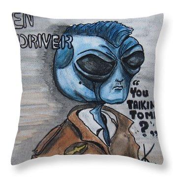 Alien Taxi Driver Throw Pillow