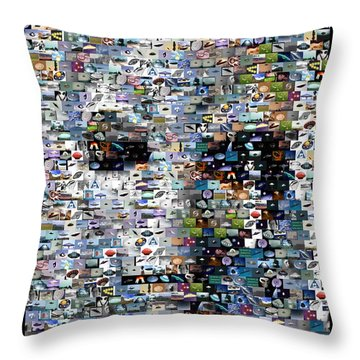 Throw Pillow featuring the mixed media Alien Ufo Mosaic by Paul Van Scott