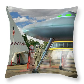 Alien Vacation - Gasoline Stop Throw Pillow by Mike McGlothlen
