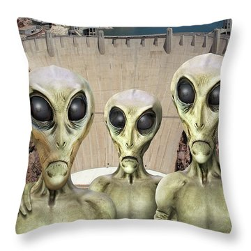 Alien Vacation - Hoover Dam Throw Pillow by Mike McGlothlen