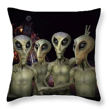 Alien Vacation - Kennedy Space Center Throw Pillow by Mike McGlothlen