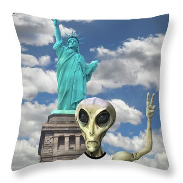 Alien Vacation - New York City Throw Pillow by Mike McGlothlen