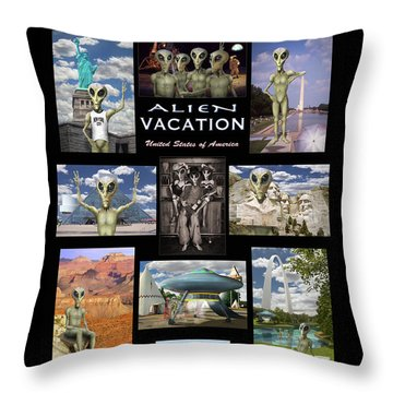 Alien Vacation - Poster Throw Pillow by Mike McGlothlen