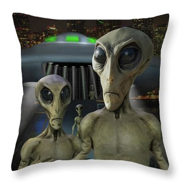 Alien Vacation - The Arrival  Throw Pillow by Mike McGlothlen