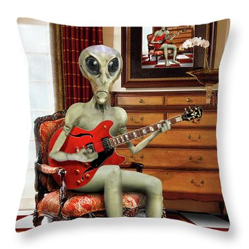 Alien Vacation - We Roll With Jazz Throw Pillow by Mike McGlothlen