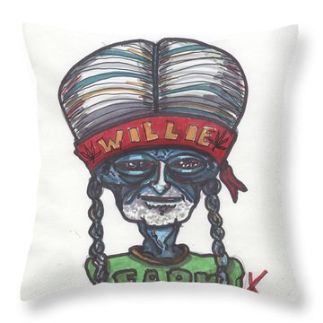 Throw Pillow featuring the drawing alien Willie Nelson by Similar Alien