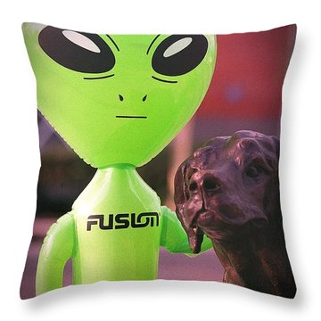Alien's Best Friend Throw Pillow
