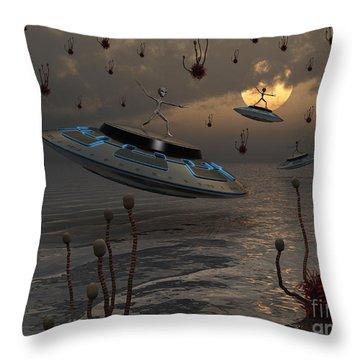Aliens Celebrate Their Annual Harvest Throw Pillow by Mark Stevenson