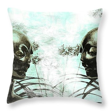 Aliens In My Garden Throw Pillow by Tyler Robbins