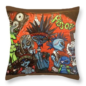 Throw Pillow featuring the painting Aliens With Nefarious Intent by Similar Alien