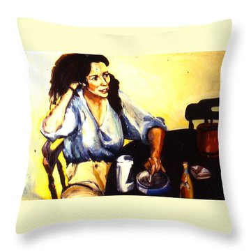 Throw Pillow featuring the painting Aliet by Les Leffingwell