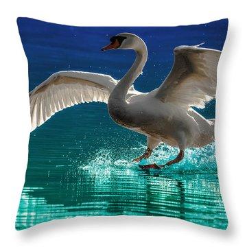Alighting Swan 2 Throw Pillow