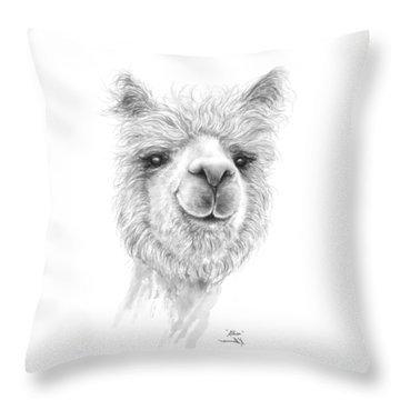 Throw Pillow featuring the drawing Alissa by K Llamas