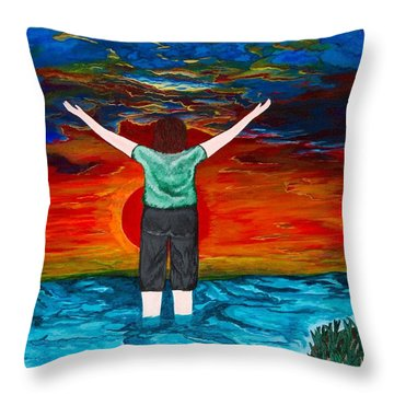 Throw Pillow featuring the painting Alive by Cheryl Bailey