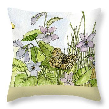 Throw Pillow featuring the painting  Alive In A Spring Garden by Laurie Rohner