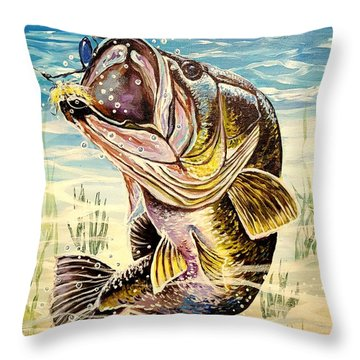 All About The Bass Throw Pillow by Sandra Lett