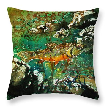 All About Trout Throw Pillow by Sue Duda