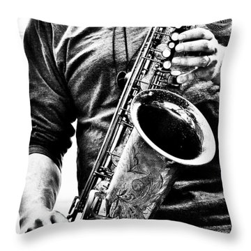 All Blues Man With Jazz On The Side Throw Pillow by Bob Orsillo