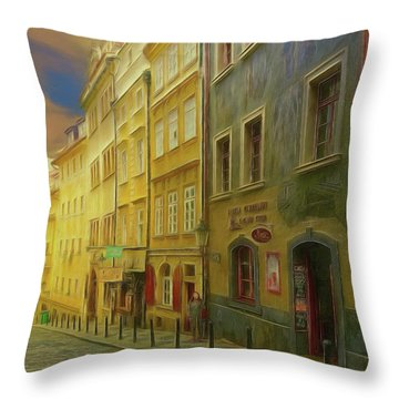 All Downhill From Here - Prague Street Scene Throw Pillow