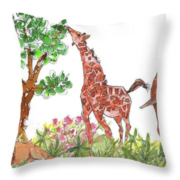 All Is Well In The Jungle Throw Pillow by Kathleen McElwaine
