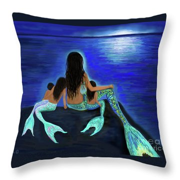 Throw Pillow featuring the painting All My Adorable Girls by Leslie Allen